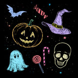 Chalked Halloween collection Stock Images