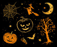 Chalked Halloween drawings Stock Photo