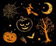 Chalked Halloween drawings Stock Photo