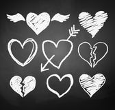 Chalked hearts Stock Images