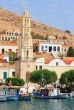 Chalki, halkiEiland in Griekenland Royalty-vrije Stock Afbeeldingen