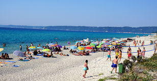 Chalkidiki beach with people Stock Images