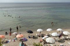 Panoramic view of Metamorfosi Beach at Sithonia peninsula, Chalkidiki, Ce. CHALKIDIKI, CENTRAL MACEDONIA, GREECE - AUGUST 25, 2014: Panoramic view of Metamorfosi stock photos