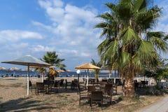 Seascape of Gerakini Beach at Sithonia peninsula, Chalkidiki, Central Mac. CHALKIDIKI, CENTRAL MACEDONIA, GREECE - AUGUST 25, 2014: Seascape of Gerakini Beach at Stock Photos