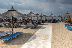 Sascape of Kalogria beach at Sithonia peninsula, Chalkidiki, Central Mac. CHALKIDIKI, CENTRAL MACEDONIA, GREECE - AUGUST 25, 2014: Seascape of Kalogria beach at Royalty Free Stock Photos
