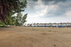 Seascape of Lagomandra beach at Sithonia peninsula, Chalkidiki, Central M. CHALKIDIKI, CENTRAL MACEDONIA, GREECE - AUGUST 25, 2014: Seascape of Lagomandra beach royalty free stock photo
