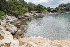 Seascape of Spathies beach at Sithonia peninsula, Chalkidiki, Central Mac. CHALKIDIKI, CENTRAL MACEDONIA, GREECE - AUGUST 25, 2014: Seascape of Spathies beach at Royalty Free Stock Images