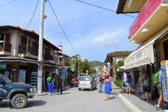 Chalkidiki resort village street Greece Royalty Free Stock Photos