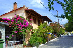 Chalkidiki small town street Greece Royalty Free Stock Images