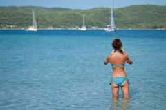 Chalkidiki, tourist snaps photo with the phone Stock Images