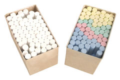 Chalks in a boxes Stock Images