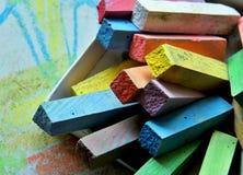 Chalks. Broken sticks of coloured blackboard chalks for school Royalty Free Stock Images