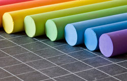 Chalks on chalkbord Stock Photography
