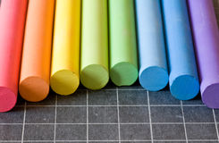 Chalks on chalkbord Stock Photos