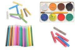 Chalks, felt pen and watercolour stock photo