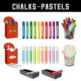 Chalks och pastellfärgpennor Arkivfoton