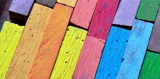 Chalks. Palette of coloured blackboard chalks for children Royalty Free Stock Images