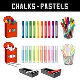 Chalks and Pastel Crayons Stock Photos