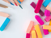 Chalks and pencil drawings. The white backgroud stock photo