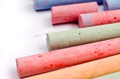 Chalks in various vivid colors Stock Photo