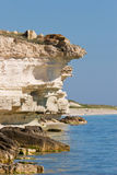 Chalky bluff on sea. Mangistau region in Kazakhstan. Caspian sea Stock Photo
