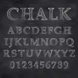 Chalky font. Vector illustration of a chalk alphabet on a blackboard Stock Photo