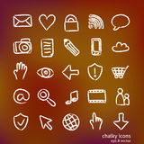 Chalky hand-drawn icons Stock Images