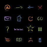 Chalky Internet Symbols. Hand Drawn Grunge Internet Symbols Stock Photos