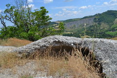 Chalky rock in the karst park near Bologna Royalty Free Stock Photo