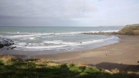 Challaborough bay and coast South Devon England uk popular for surfing near Burgh Island and Bigbury-on-sea PAN stock video