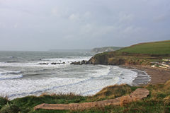Challaborough Bay, Devon. Rough seas in Challaborough Bay, Devon Stock Image