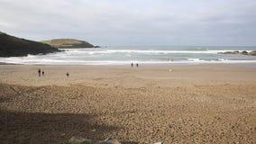 Challaborough beach Devon England uk popular for surfing near Burgh Island and Bigbury-on-sea PAN stock video