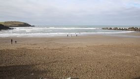 Challaborough beach South Devon England uk popular for surfing near Burgh Island and Bigbury-on-sea stock footage
