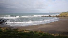 Challaborough beach and waves coast of South Devon England uk popular for surfing near Burgh Island and Bigbury-on-sea PAN stock video