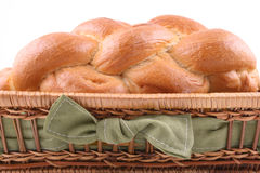 Challah. Basket of challah bread isolated on white Stock Image