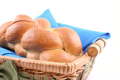 Challah. Basket of challah bread isolated on white Stock Photography
