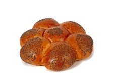 Challah with blue poppy. This type of bread is baked of wheat flour and covered by blue poppy seeds Stock Images