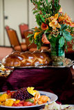 Challah bread and flowers Stock Images