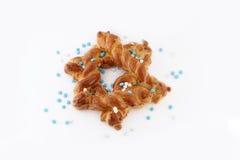 Challah bread shaped as David's star. Challah shaped as David's star - Jewish symbol royalty free stock photo