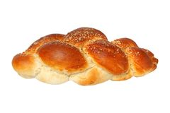 Challah bun on white Stock Photo