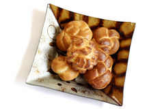 Challah in decorated plate. Shabat challah on decorated plate. Ready to meet Shabat stock photos