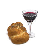 Challah with glass of vine on white Royalty Free Stock Image