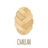 Challah icon in flat style. Challah icon in flat style isolated on white background. Bakery menu. Bread symbol. Vector illustration Stock Photo