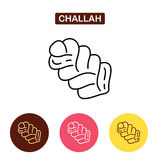 Challah isolated line icon. royalty free illustration