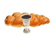 Challah and Kiddush cup. Challah and Silver Kiddush cup for Jewish Sabbath Stock Image