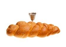 Challah and Kiddush cup. Challah and Silver Kiddush cup for Jewish Sabbath Stock Photos