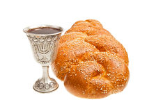 Challah and Kiddush cup. Challah and Silver Kiddush cup for Jewish Sabbath Royalty Free Stock Image