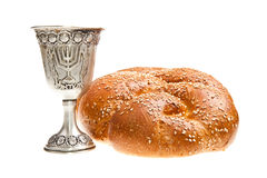 Challah and Kiddush cup Royalty Free Stock Photos