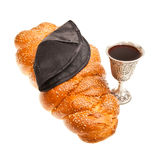 Challah Kiddush cup and Yarmulke. Challah Silver Kiddush cup and Yarmulke for Jewish Sabbath Stock Photo