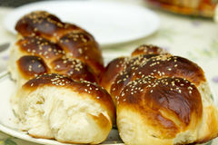 Challah for Shabbat , jewish bread bakery tradition stock images